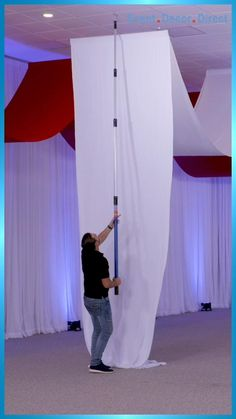 EventDecorDirect.com is the #1 supplier of professional ceiling draping kits at factory-direct prices. Choose from a huge variety of styles, colors and sizes. We also offer accessories that allow you to drape a ceiling without a ladder! Our ceiling draping kits are ideal for weddings, events, parties, corporate events, banquet halls, event centers and much more. Enjoy FREE SHIPPING on all of our ceiling draping kits. Shop Now at EventDecorDirect.com | Questions? Call Us Today 1-800-914-3538 Ceiling Draping Wedding, Wedding Backdrop Design, Wedding Balloon Decorations, Backdrop Decorations, Event Decor Direct, Ceiling Installation, Wedding With Kids, Ceiling Decor, Dream Decor