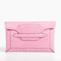 Borsa Clutch in Pelle di Coccodrillo Rosa   #Parmeggiani