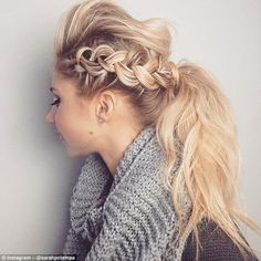 Complex creation: A side-running French braid and quiff which come together in a textured ponytail