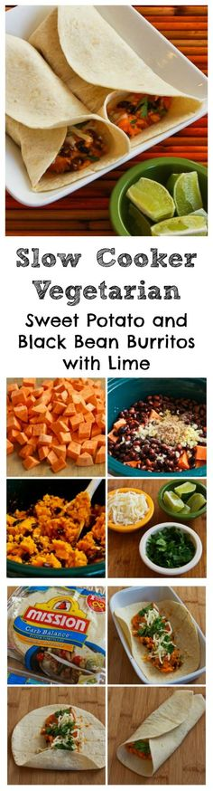 Slow Cooker Vegetarian Sweet Potato and Black Bean Burritos with Lime are a perfect Meatless Monday dish for any time of year.  Using the slow cooker means you can cook this in the dead of summer without heating up the house.  [from KalynsKitchen.com]