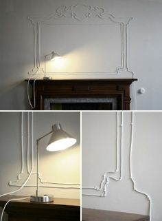 Cord art... A neat idea to stylize that unsightly extension cord draped across the room.