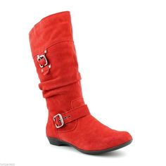 White Mountain Loveable Womens Red Suede Fashion Mid-Calf Scrunchy Boots $100 #WhiteMountain #FashionMidCalf