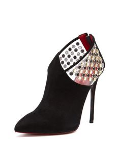 Studded Vinyl Pointed-Toe Bootie by Cesare Paciotti at Gilt