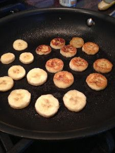 Fried bananas: spray pan with coconut oil spray, brown 1 banana (sliced) 1-2 mins on each side; mix 1 tbsp honey with 1tsp water and sizzle over banana in pan; sprinkle all with cinnamon.