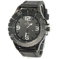 MapofBeauty Modisch und Stilvoll Einfach Analoges Quarzwerk Uhren Schwarz Leder Uhrenarmband Herren Armbanduhr (Schwarz Band/Schwarz Wählen) - http://uhr.haus/mapofbeauty/mapofbeauty-modisch-und-stilvoll-einfach-uhren-7
