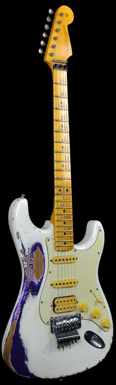 Fender 1960 Heavy Relic Stratocaster White Lightning over Faded Purple Metallic w/ Floyd Rose Electric Guitars Wild West Guitars Guitar Shop, Guitar Art, Music Guitar, Cool Guitar, Playing Guitar, Guitar Logo, Ukulele, Unique Guitars, Custom Guitars