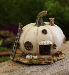 White Pumpkin Fairy House