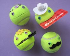Smiley face tennis ball 'stuff holder'. Use the mouth to hold important items, or hide things inside. Choose hat, mustache, jewels, bow tie
