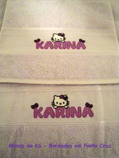 Jogo de Toalhas de Banho e Rosto - Monograma da Hello Kitty com o nome Karina