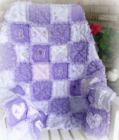 Rag Quilt Handmade Purple Shabby Cottage Roses by ArrivingAngels, $97.00