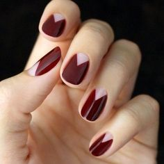 Burgundy beauty inspo. Match your rich dark colours with a soft pastel for high drama geometrics. #nailpolish #beauty #limedrop #fun