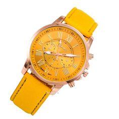 NEW Best Quality Geneva Platinum Watch Women PU Leather wristwatch casual dress watch reloj ladies gold gift Fashion Roman Horse Watch, Fashion Watches, Geneva Platinum, Pu Leather, Bracelet Watch, Women Accessories, Quartz, Watch Women, Casual