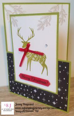 Half Fold card with the Merry Patterns set. #christmas2017 #stampinupaustralia #astampingjourney.wordpress.com