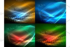 Set of glowing flowing wave neon backgrounds, energy concept, wave lines