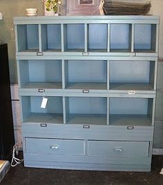 Love this cabinet! Made of salvaged kitchen drawers, an old cabinet, and beadboard. Beautiful!