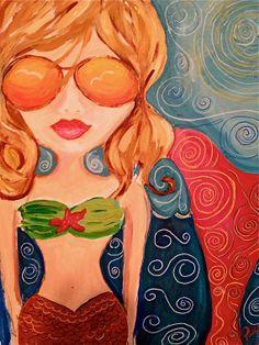 Cool Girl Mermaid Paintings by BeckysWhimsicalArt on Etsy, $125.00