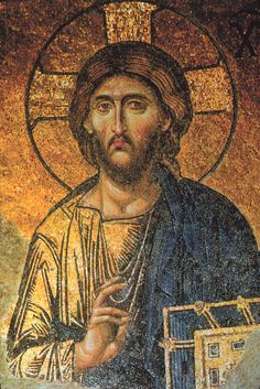 Detail of Christ Pantocrator mosaic, the Hagia Sophia, Constantinople (Istanbul), Turkey