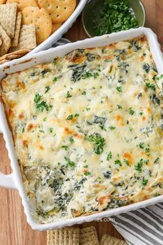 The Best Spinach Artichoke Dip recipe! This is not only easy, but it's one of the best baked dips I've made! It's always a huge hit! Hot Artichoke Spinach Dip, Knorr Spinach Dip, Best Spinach Dip, Baked Spinach Artichoke Dip, Baby Spinach, Dips, Vegetable Seasoning, Dip Recipes, Potato Recipes