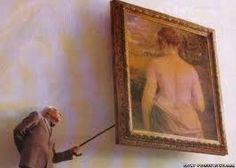 Funny dirty old man art gallery painting joke picture