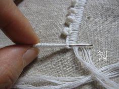 버튼홀앤드불리온피콧엣지 Buttonhole and bullion picot edge Hand Embroidery Stitches, Embroidery Hoop Art, Beaded Embroidery, Crochet Stitches, Lilo Og Stitch, Stitch Lines, Drawn Thread, Stitch Book, Sewing Art