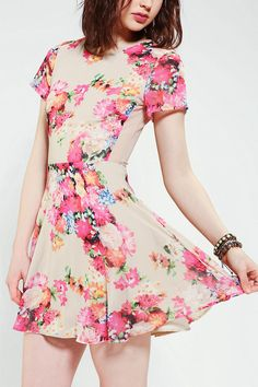 Coincidence & Chance Floral Mesh-Back Dress #UrbanOutfitters