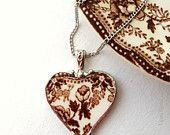 Broken china jewelry necklace sweet robin by dishfunctionldesigns