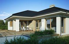 Projekt domu Julia 123,7 m2 - koszt budowy 239 tys. zł - EXTRADOM Outdoor Rooms, Outdoor Decor, Home Fashion, House Plans, Floor Plans, Flooring, House Styles, Albums, Houses