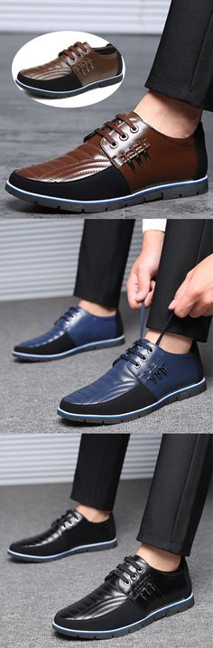 2d5287c490  US  45.02 Large Size Men Genuine Leather Splicing Non-slip Soft Casual