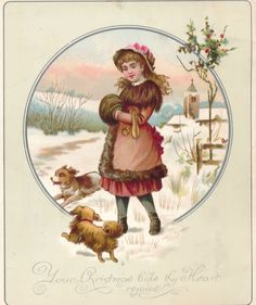 1887 Victorian Christmas Card, Girl and Puppies