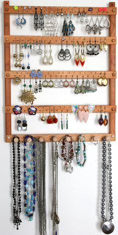 Earring Holder / Jewelry Holder, Cherry, Wood, Wall Mount with Necklace Holder. Holde 72 pairs of Earrings, plus 8 pegs. Jewelry Organizer Earring Holder / Jewelry Holder Cherry Wood by TomsEarringHolders Wand Organizer, Wall Mount Jewelry Organizer, Diy Jewelry Holder, Jewelry Organization, Homemade Jewelry Holder, Diy Earing Holder, Stud Earring Organizer, Jewelry Box, Diy Earring Storage