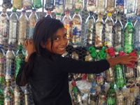 Buildings from bottles.  I wanted to do something like this when I was in Peace Corps.