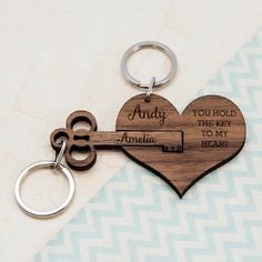 This personalized key chain is perfect for couples for their Anniversary gift # DIY Gifts for couples Couple's Personalized Wooden Anniversary Keychain Bday Gifts For Him, Surprise Gifts For Him, Valentines Day Gifts For Him, Thoughtful Gifts For Him, Romantic Gifts For Him, Romantic Ideas, Romantic Dates, Original Wedding Gifts, Cadeau Couple