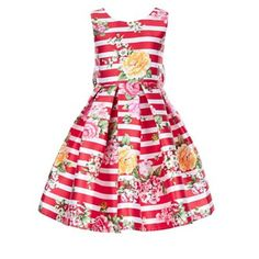 Our Susannah stripe party dress for girls is decorated with oversized blooms, and adorned with a back bow detail. This fully-lined piece is cut with a fitted bodice and a voluminous, tulle-lined skirt for extra twirliness. Features a side zip fastening. Little Girl Dresses, Girls Dresses, Summer Dresses, Baby Dresses, Free Clothes, Clothes For Women, Party Frocks, Girls Party Dress, Stylish Kids