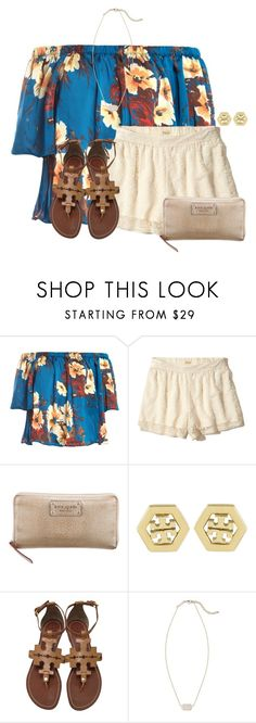 """~tropical~"" by flroasburn ❤ liked on Polyvore featuring Sans Souci, Hollister Co., Kate Spade, Tory Burch and Kendra Scott"