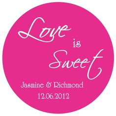 Love is Sweet Wedding Stickers, Personalized Stickers, Wedding Favor Stickers, Favor Tags, Wedding, Bridal, Bridal Shower on Etsy, $5.95