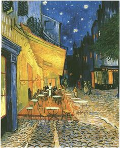 Café Terrace at Night by Vincent Van Gogh! Painting a cafe in Arles France. is one of van Gogh's artwork. until now a cafe called Van Gogh. Unique style with paintings, Van Gogh combine with warm colors and depth of perspective. Art Van, Van Gogh Art, Vincent Van Gogh, Van Gogh Pinturas, Georges Seurat, Van Gogh Paintings, Artwork Paintings, Post Impressionism, Henri Matisse