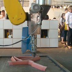 Endless by Dirk Vander Kooij at DMY Berlinch robot prints chairs made of recycles refrigerators
