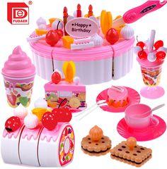 10Pcs Plastic Kitchen Cutting~Toy Birthday Cake Pretend Play Food Set Kids Gi TD