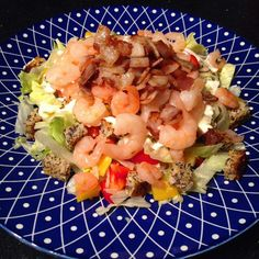 Some kind of prawn-bacon salad with croutons (from toasted paleo bread). Most of the big pile is lettuce red and yellow capsicum/pepper and cucumber with paleo mayo. #healthy #healthyfood #healthydiet #healthyeating #eathealthy #eatinghealthy #eatclean #eatingclean #cleaneating #eatright #eatrealfood #eatwell #eatwelllivewell #glutenfree #grainfree #dairyfree #sugarfree #soyfree #nutfree #lowcarb #paleo #paleodiet #paleofood #paleolife #paleolifestyle #nofusspaleo #prawns #lunch…