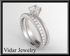14k White Gold Round Diamond Wedding Ring by Vidarjewelry on Etsy, $2850.00