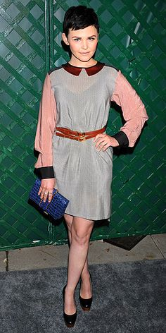 GINNIFER GOODWIN  Also joining Stella and Paul McCartney's star-studded West Hollywood bash, the actress embellishes her collared frock with a wrap belt, cobalt croc clutch and wooden-platform pumps.