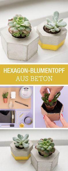 Süße Blumentöpfe aus Beton selbermachen, geometrische Wohndeko / craft your home decor: concrete plant pots via DaWanda.com
