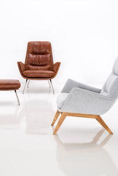Sessel Garbo mit Hocker Vintage Leder Braun | Sessel Garbo Eiche Grau Scandinavian Furniture, Armchair, Sweet Home, Sofa, Living Room, Home Decor, Home And Garden, Mid Century, Couches