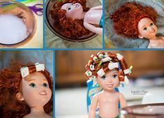 DIY Fixing doll hair. Curly, straight, and wavy. Great way to smooth out Disney doll hair or Barbie hair. This is not made for American girl dolls hair. #americandollhair #dollhairdiy