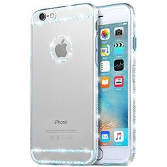 iPhone 6 Case, Apple iPhone 6S Case, Bonice Ultra Clear Crystal Transparent Diamond Rhinestone Bling TPU Silicone Gel Soft Thin Case Cover for iPhone 6 6S 4.7 inch - Sky Blue - Brought to you by Avarsha.com