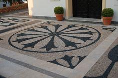 At Koskinou, Rhodes Island, Greece. Pebble Mosaic, Stone Mosaic, Mosaic Tiles, Pebble Driveway, Stone Driveway, Zen Rock Garden, Rock Garden Design, Floor Design, House Design