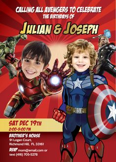 Turn your kids into Captain America and Ironman for their own and unique Birthday Invitation. Avengers Brothers Invite. Siblings Invitation. #SiblingsInvitation #AvengersInvitation #BrothersBirthday #IronmanInvitation #CaptAmericaInvitation #myheroathome