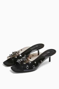 Add some modern impact to your outfit with these gem detailed transparent mules in black. We love the clear look this season, a clear fashion winner! Black Gems, My Bags, Catwalk, Liberty, Competition, Kitten Heels, Shoes Sandals, Topshop, Romantic