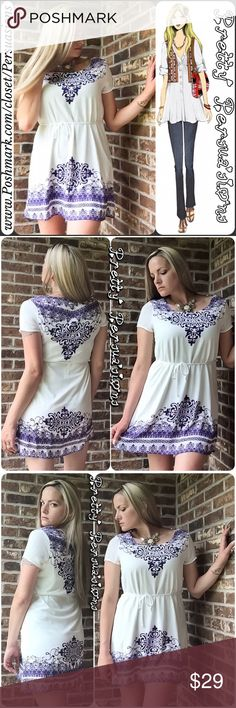 "NWT Ivory Purple Printed Boho Mini Dress Tunic Top NWT Ivory & Purple Printed Boho Mini Dress Tunic Top   Available in sizes: S, M, L Measurements taken in inches from a size small:  Length: 33"" Bust: 36""  Features: • short sleeves  • pretty purple print  • v-neckline  • ties at waist • lined Bundle discounts available  No pp or trades item # 1/2-7/3-0260PMD Pretty Persuasions Tops Tunics"