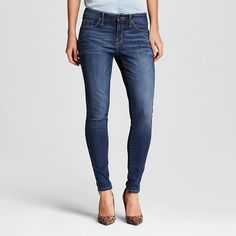 Women's Midrise Skinny Jeans Dark Wash 18 Long- Mossimo